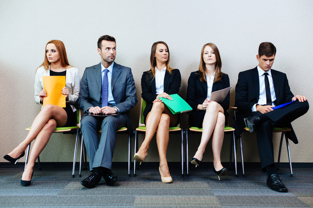 candidates waiting for interview with standout resumes