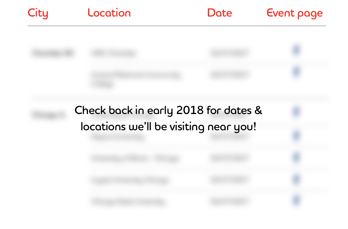 https://www.adeccousa.comCheck back in early 2018 for dates and locations we'll be visiting near you!
